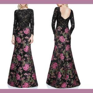 NWT Tadashi Shoji Lace Floral Long Sleeve Gown 0
